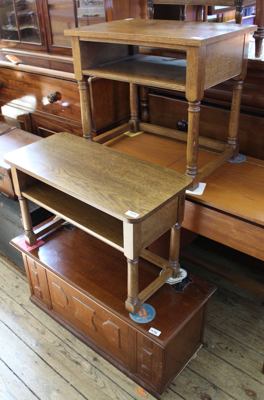 Lot 1026 - Two small oak two tier occasional tables and a mahogany lift top box