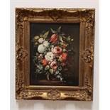 Blumenstillleben, Öl auf Leinwand, 19.Jhd., 30x23,5 cm ,gerahmt, Rahmengröße: 36x42cm, unleserlich