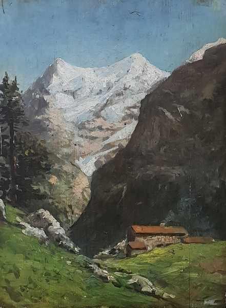 Cesare Maggi * (Torino 1881-1961 Rom) zugeschrieben Hochalm in den Dolomiten, Öl auf Holz, ca. 45