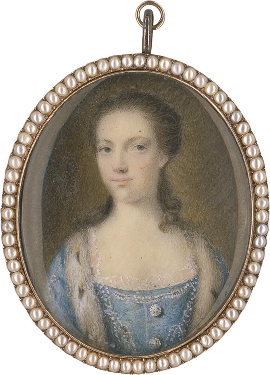 englisch: um 1760. bildnis einer adeligen dame im blauen