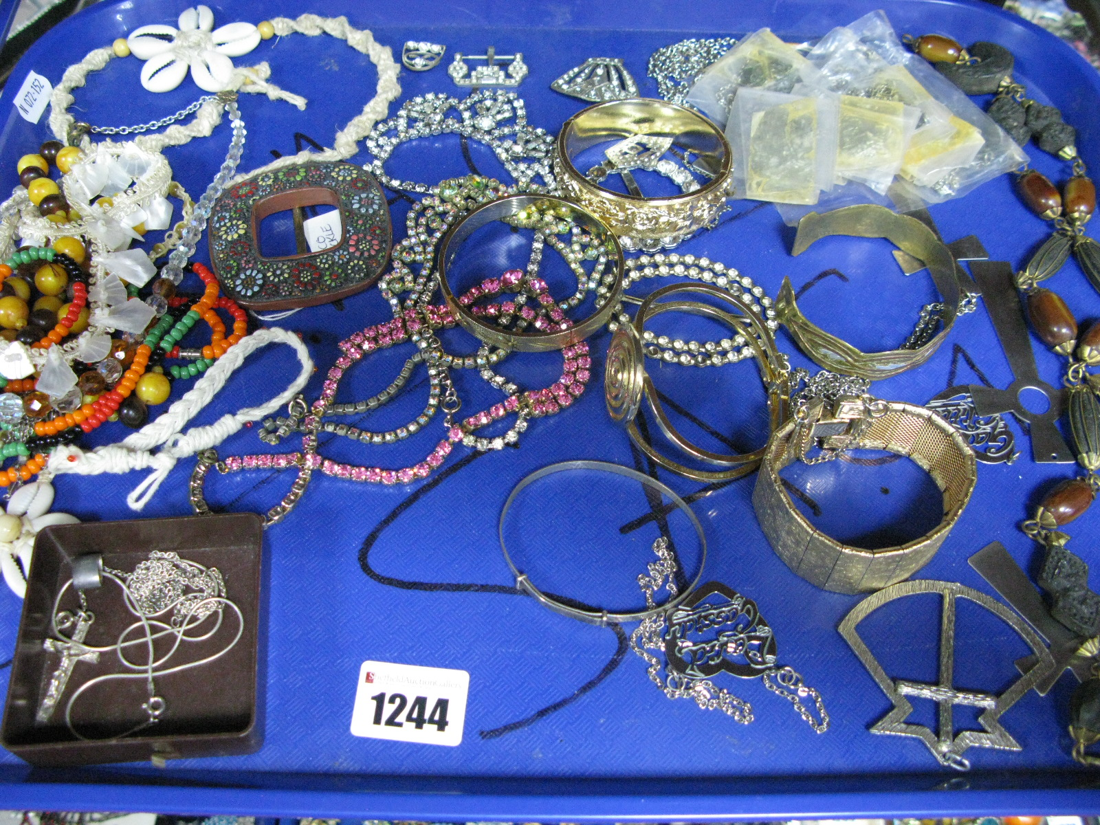 Lot 1244 - A Mixed Lot of Assorted Costume Jewellery, including stainless steel crosses and other pendants,