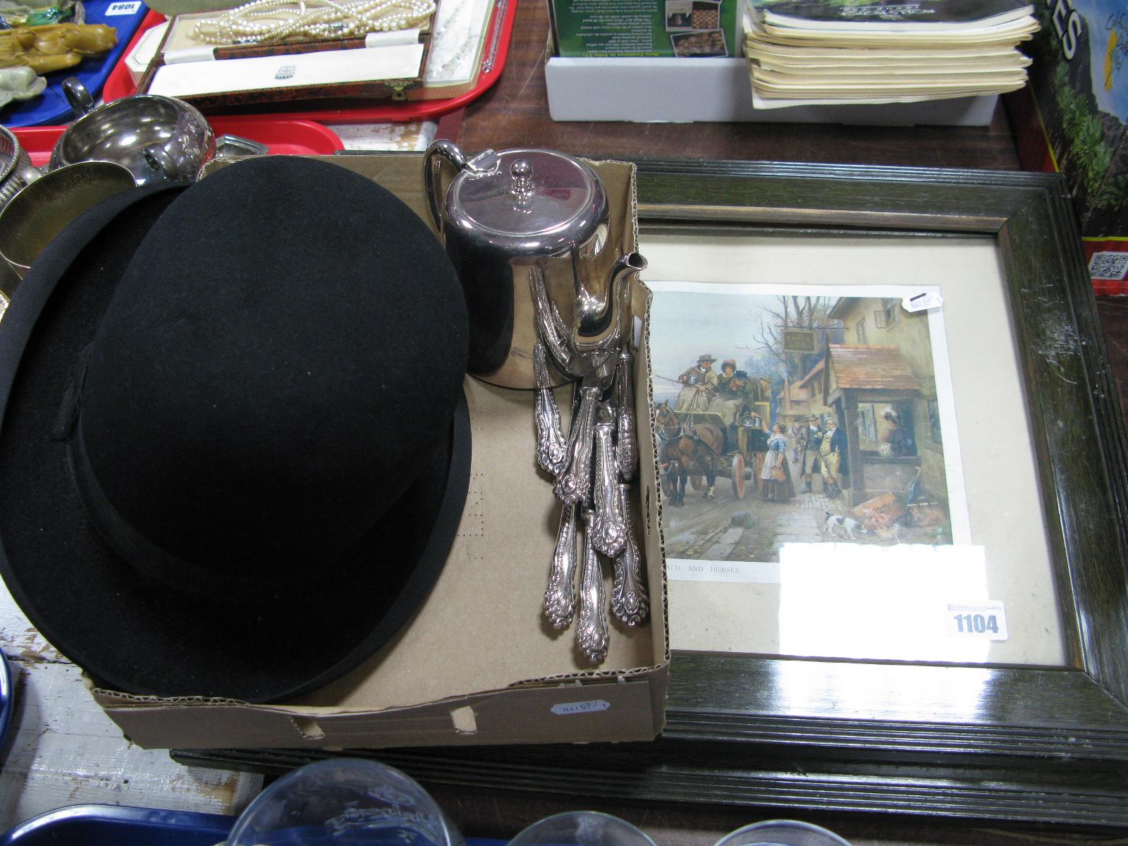 Lot 1104 - J. Smith & Son 'The Record Make' Bowler Hat; two coaching prints, seven Sheffield knives, teapot.