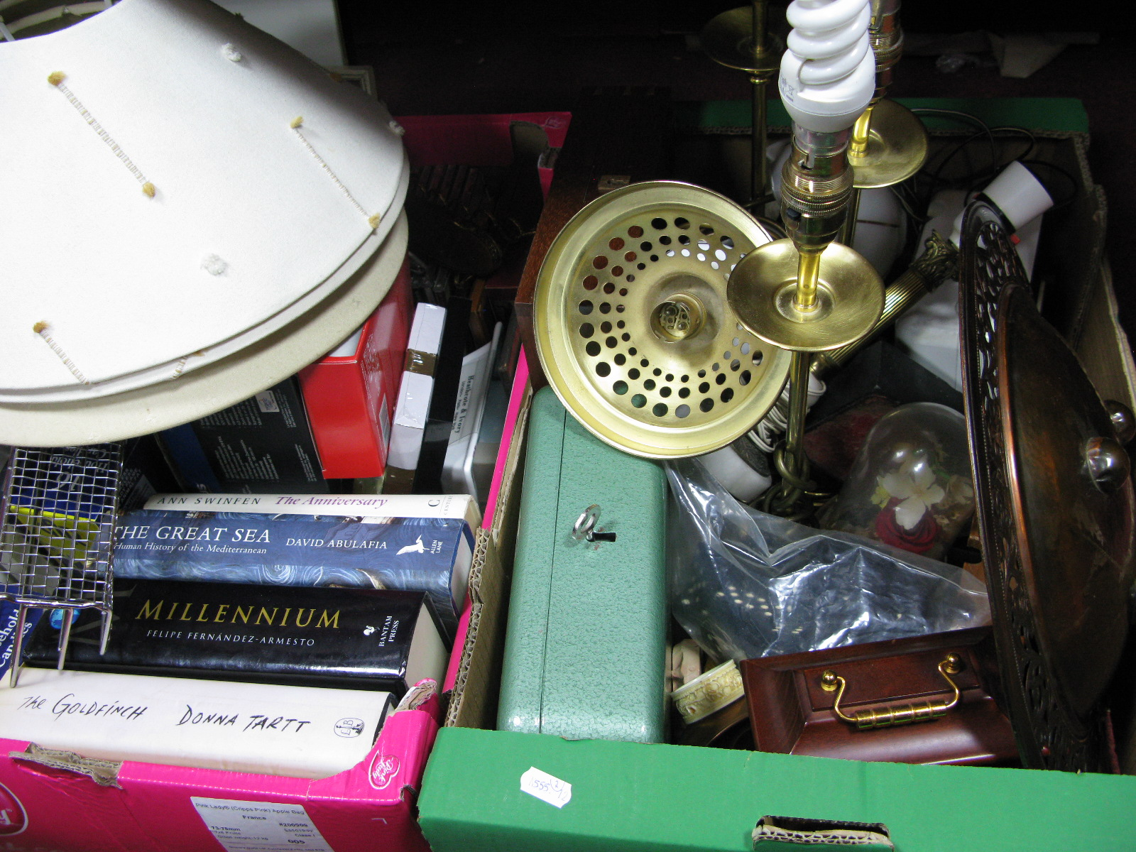 Lot 1031 - Pipe Stand, quartz mantel clock, C.D's, photo frames, books, table lamps etc:- Two Boxes