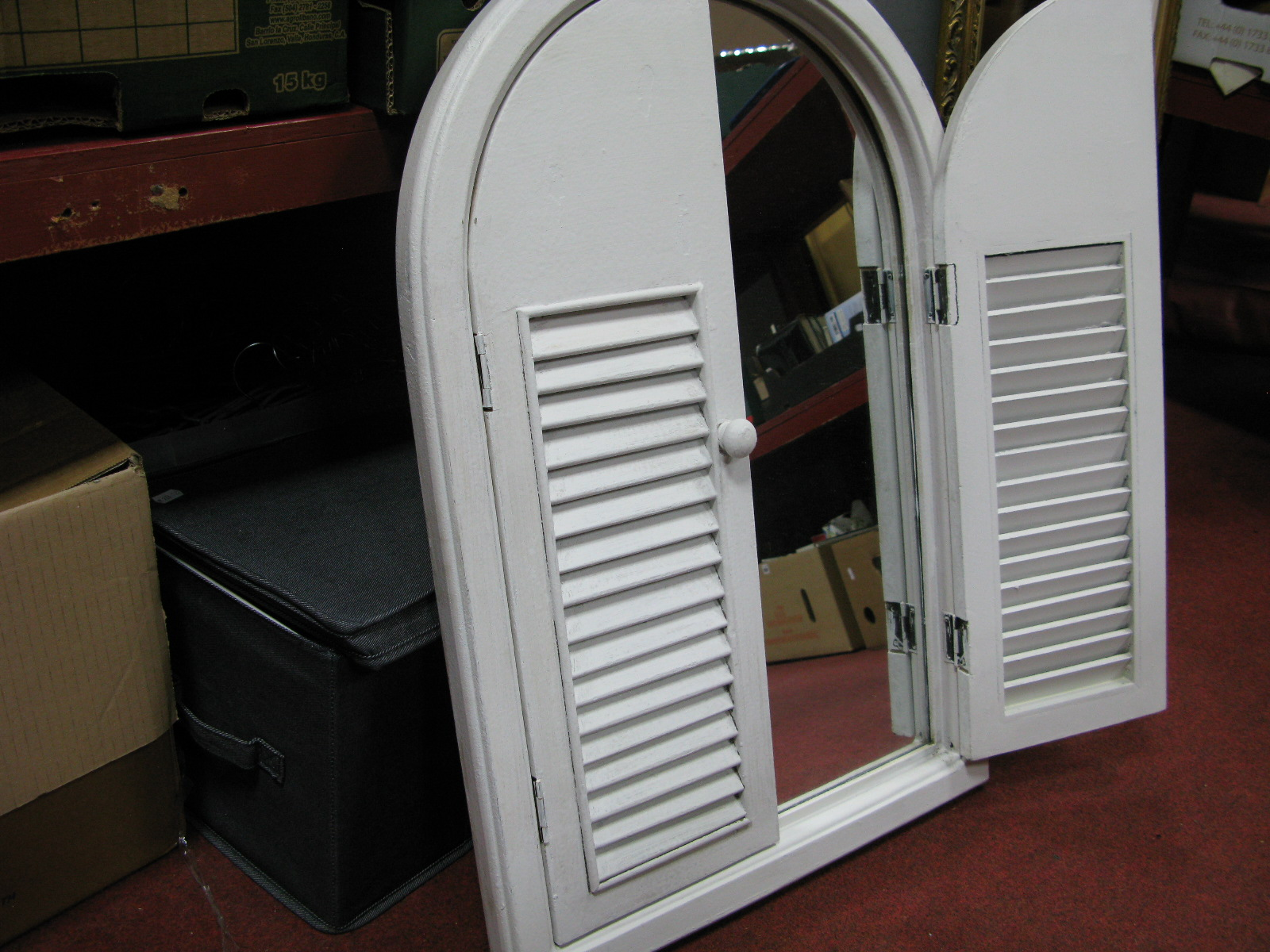 Lot 1042 - A White Painted Mirror with Venetian Style Shutters, coat hangers, etc.