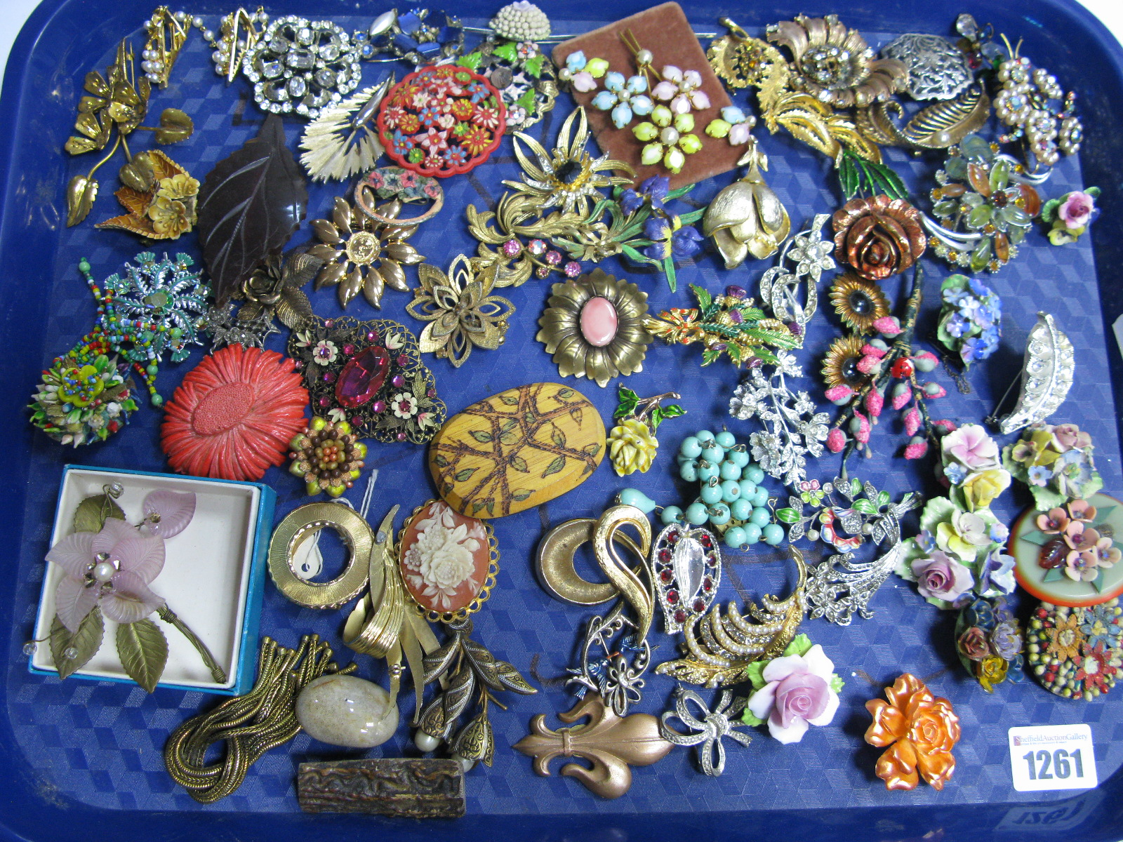 Lot 1261 - A Crown Staffordshire England Floral Brooch; together with other floral costume brooches,