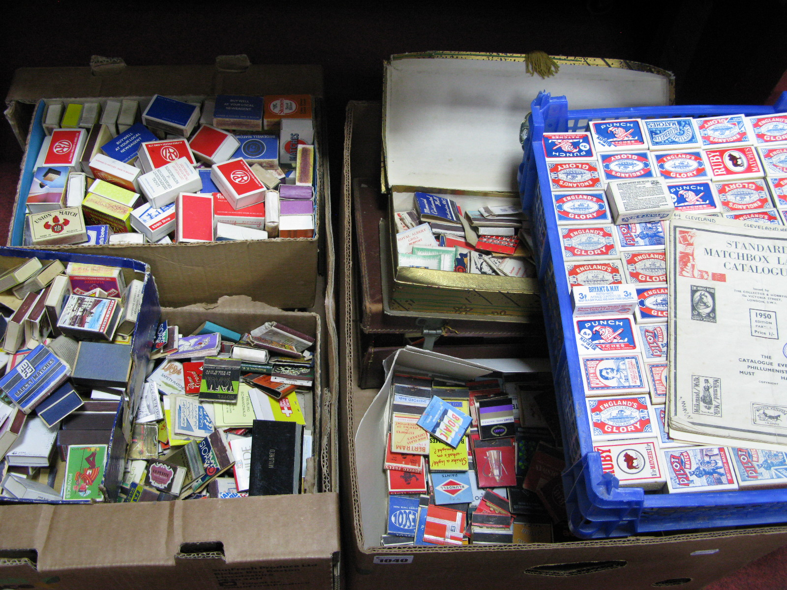 Lot 1040 - A Large Quantity of Assorted Vintage Match Boxes and Book Match Cases, leather case:- Two Boxes