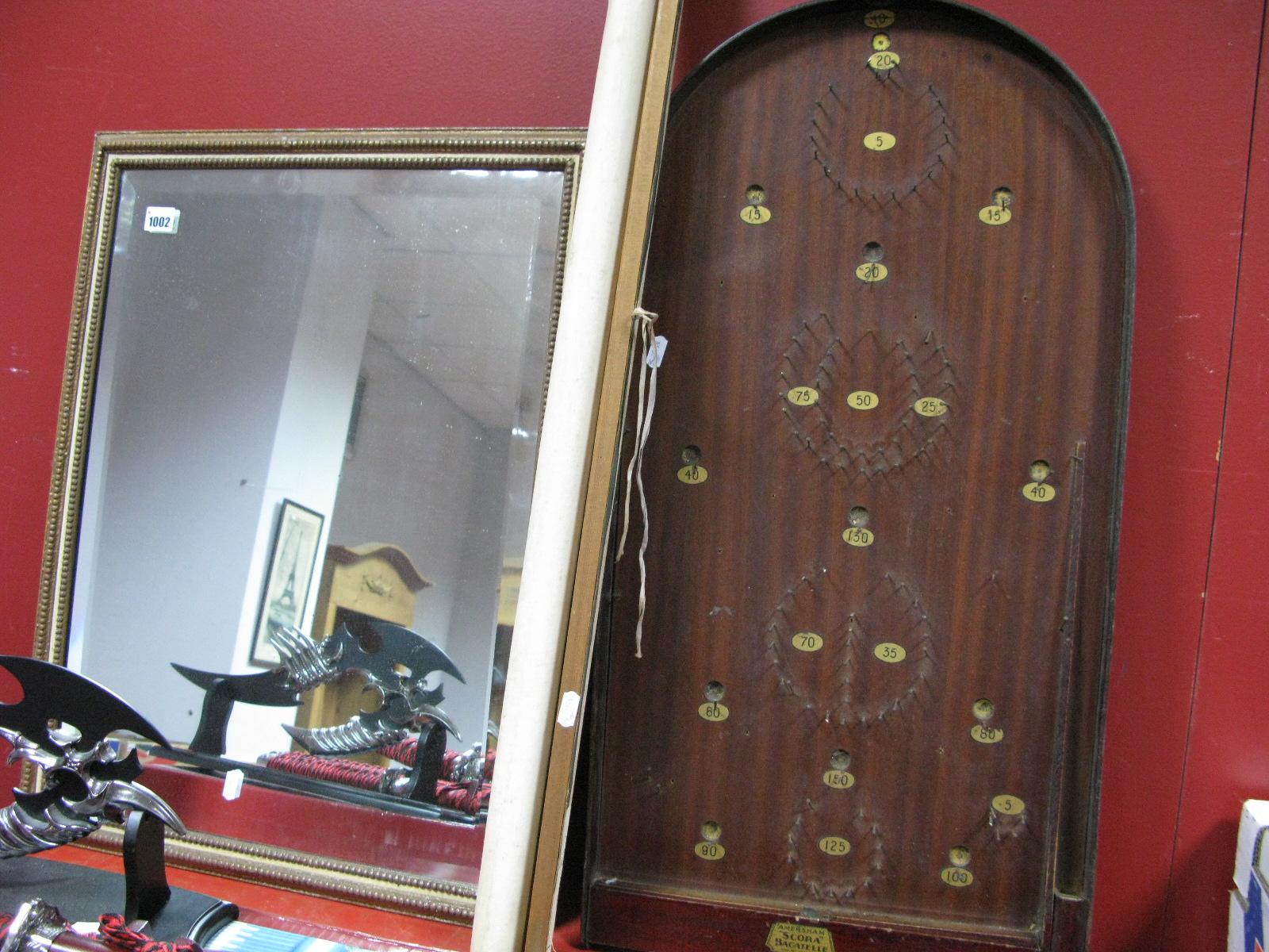 Lot 1002 - Amersham 'Scora' Bagetelle, bevelled wall mirror, Stanford's World map. (3)