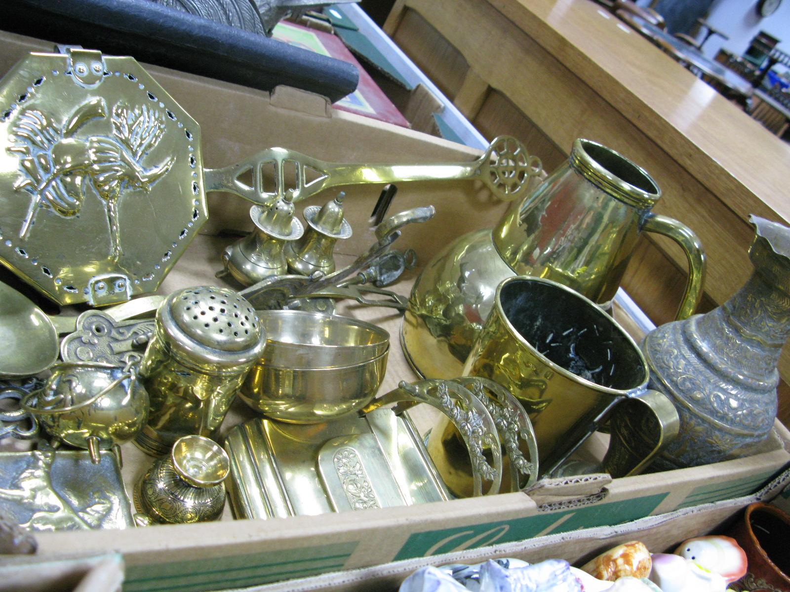Lot 1057 - Brass Chestnut Roaster Tankard, jug, vase, letter stand, etc:- One Box