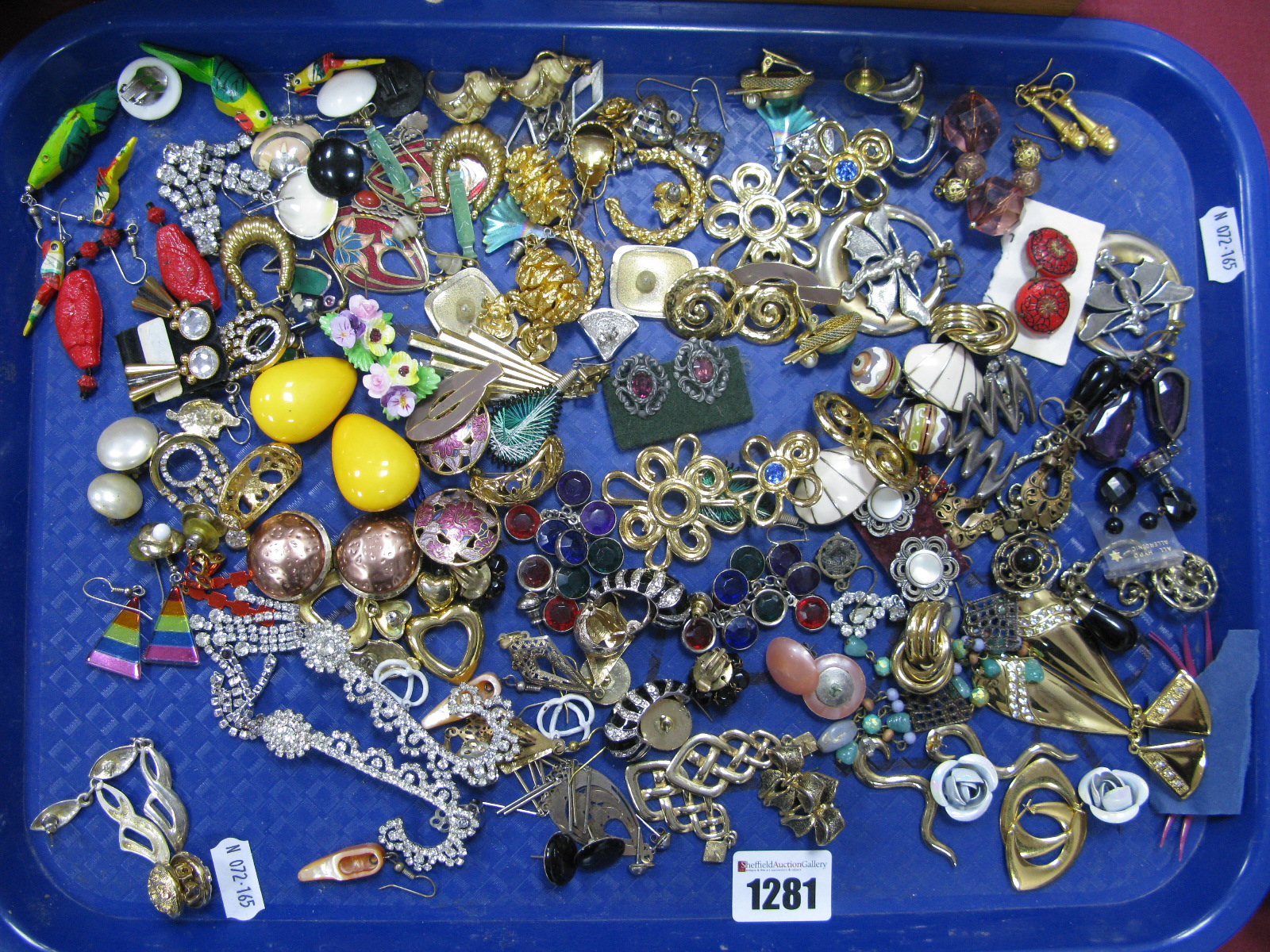 Lot 1281 - A Mixed Lot of Assorted Costume Earrings, including floral clip on, parrot drop, etc:- One Tray