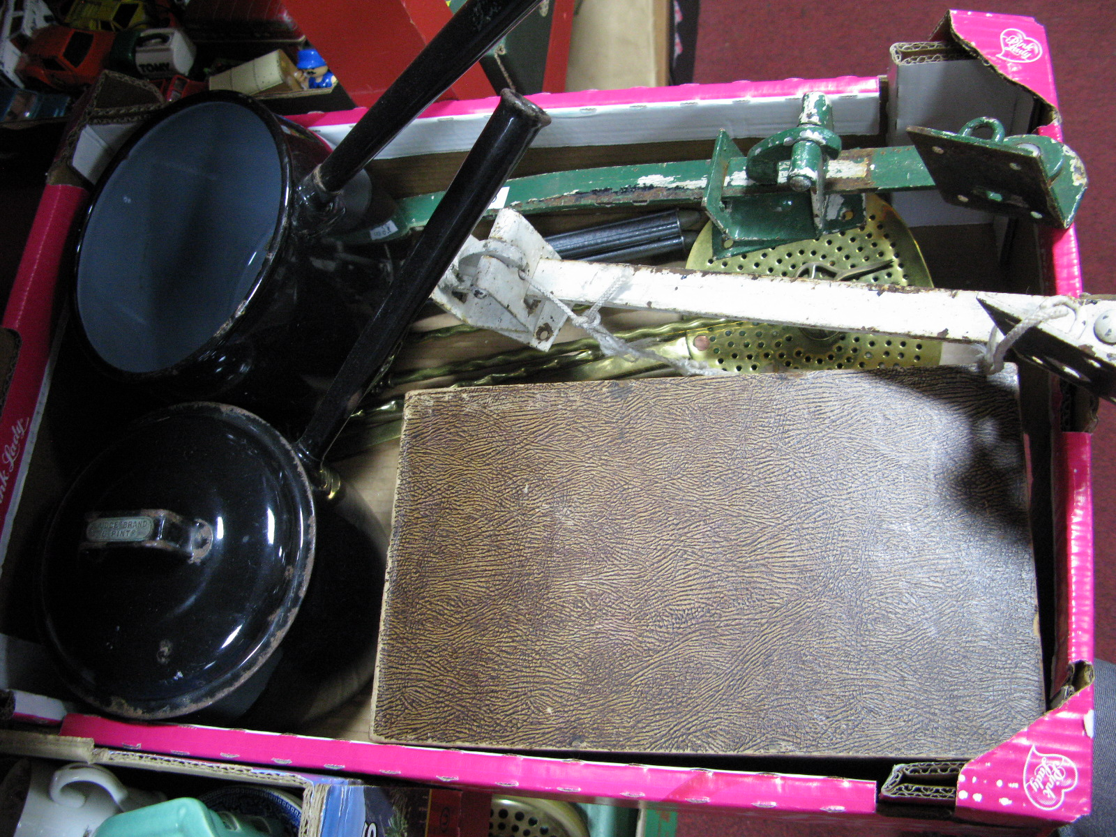 Lot 1016 - Saucepans, brass toasting forks, table top filing cabinet, etc:- One Box