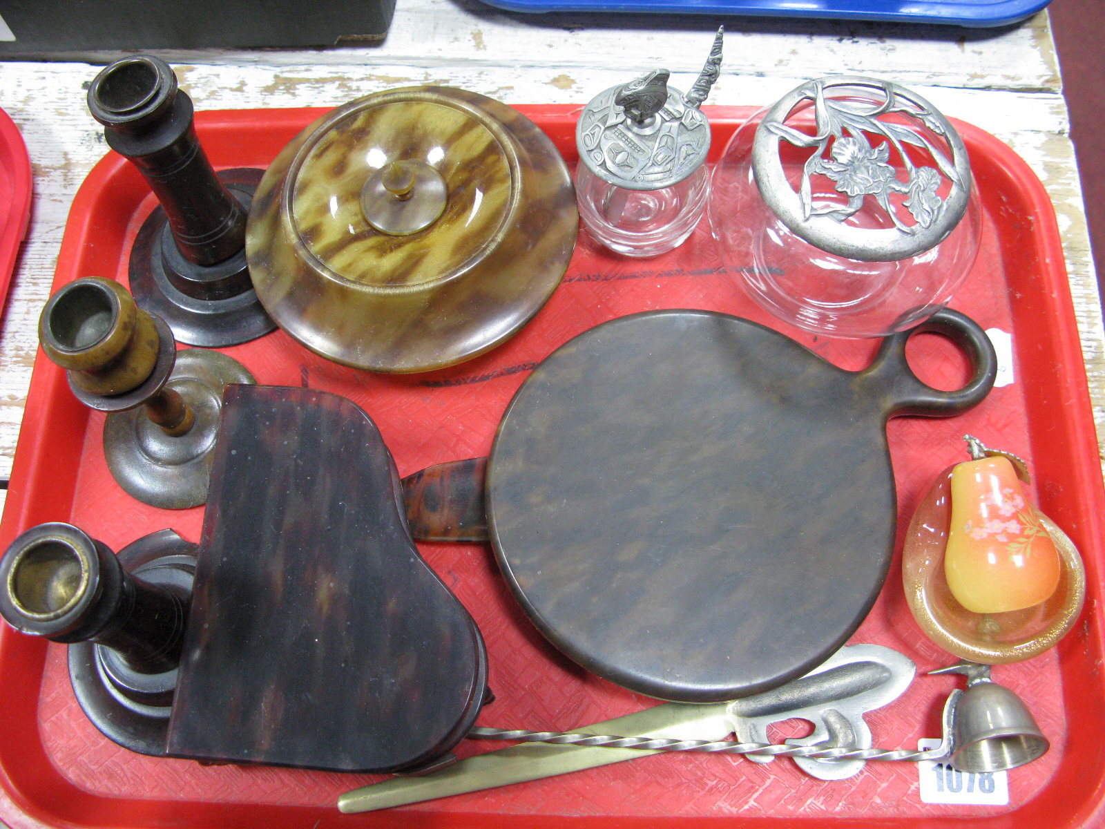 Lot 1078 - Faux Tortoiseshell Dressing Table Ware, trinket pots, etc:- One Tray
