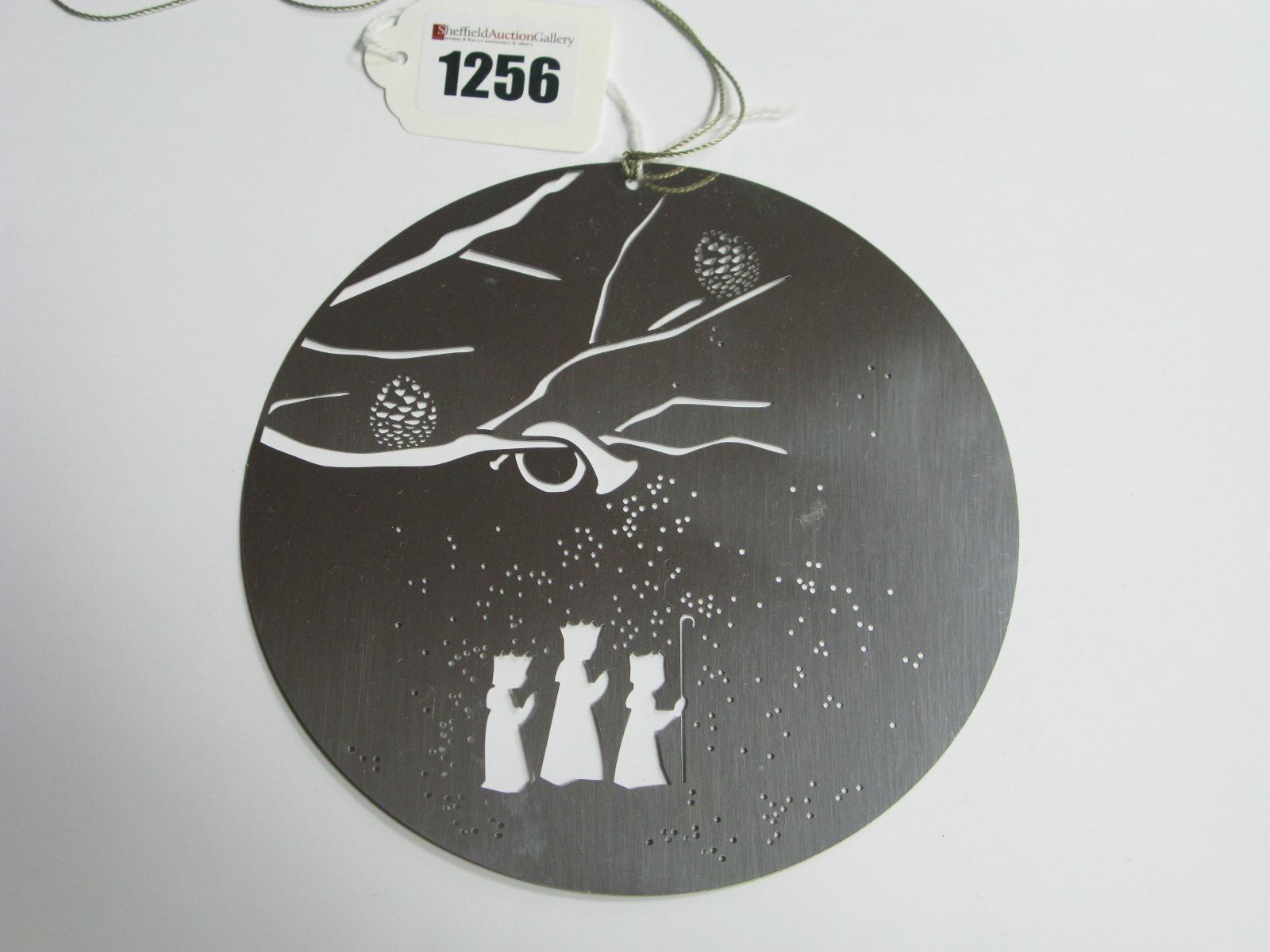 "Lot 1256 - Georg Jensen; A Modern Metal Hanging Christmas Decoration, 14cm diameter, stamped ""Georg Jensen"