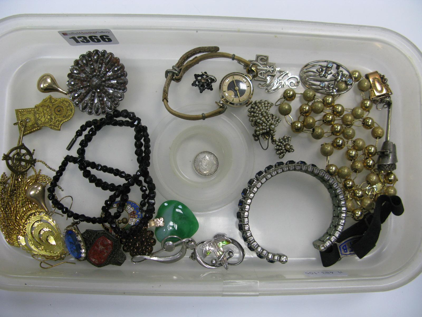 Lot 1366 - Blue and White Diamanté Bangle, earrings, vintage ladies wristwatches, necklace, brooches, pendants,