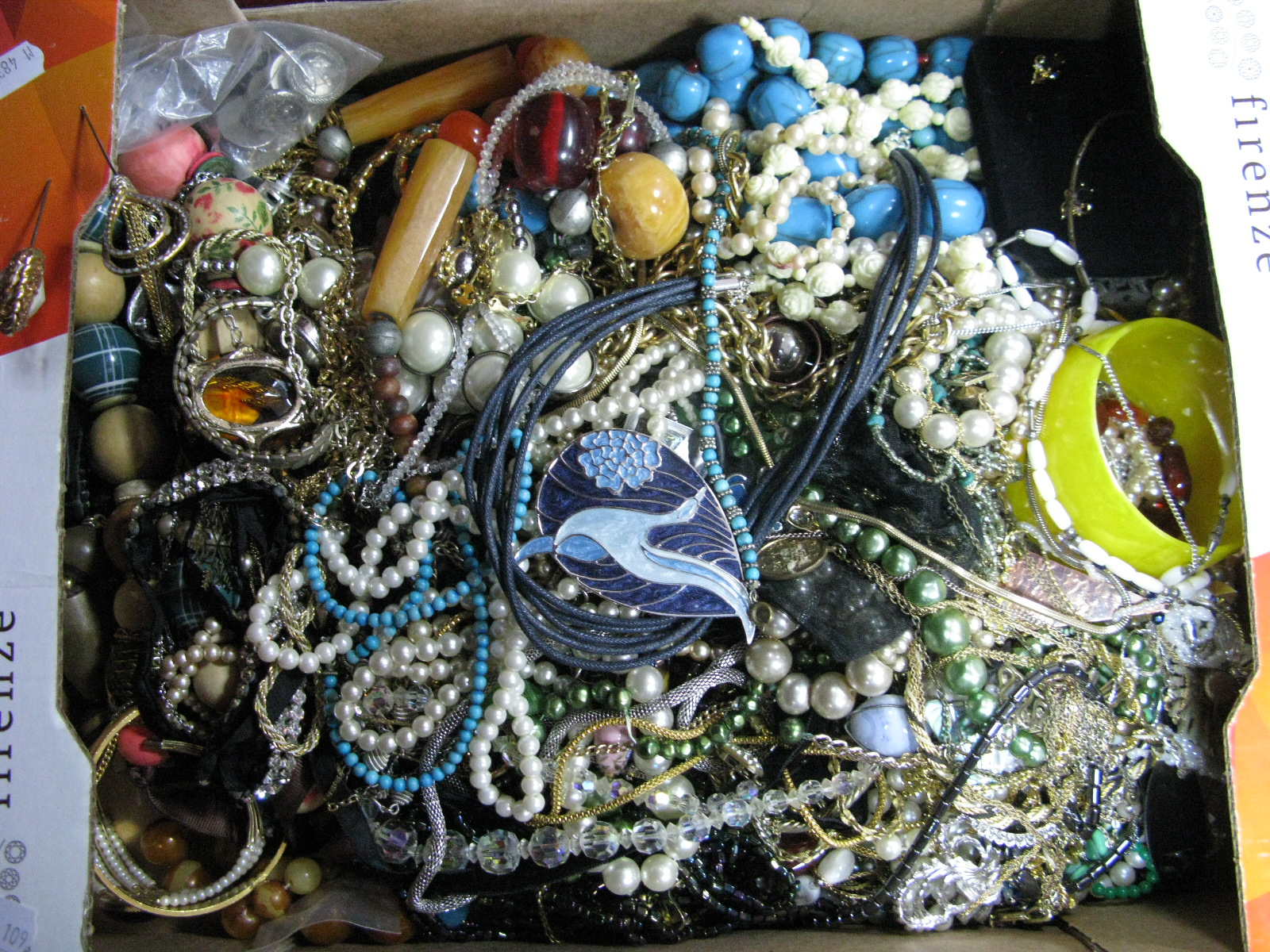 Lot 1064 - A Mixed Lot of Assorted Costume Jewellery, including beads, chains, bangle, hat pins, etc:- One Box
