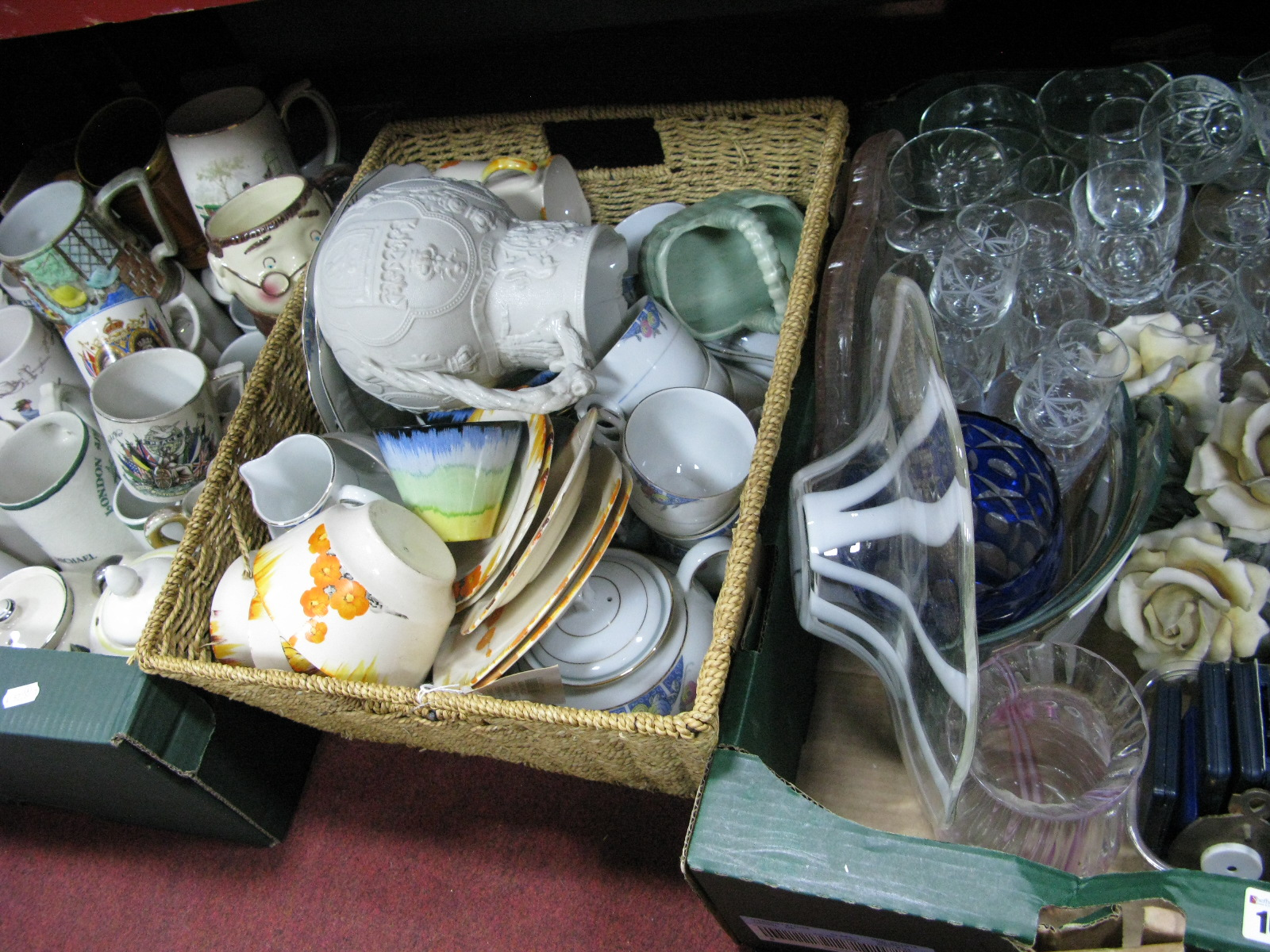 Lot 1074 - Pottery Mugs, teapots, tea ware, glassware, etc:- Three Boxes
