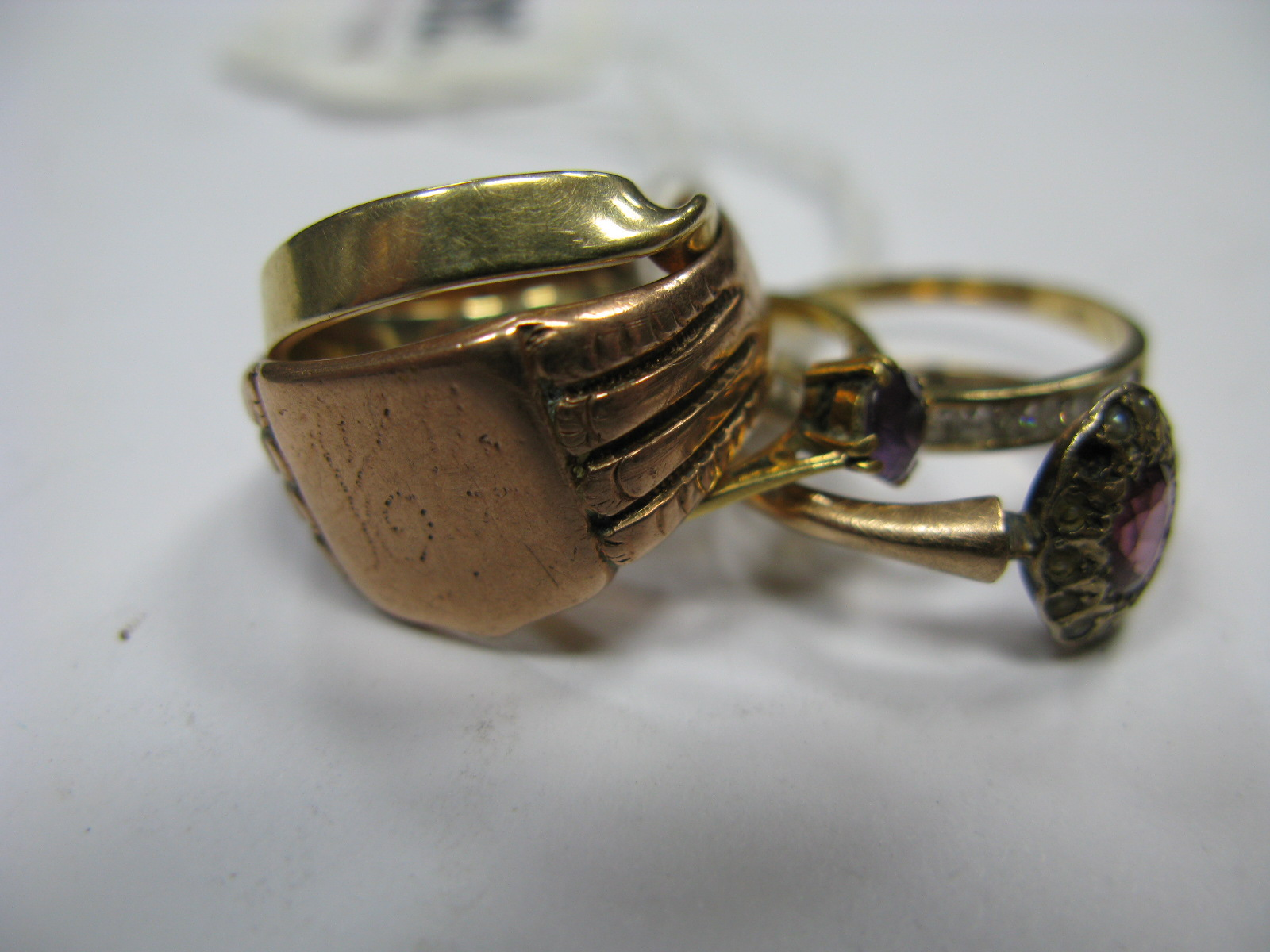 """Lot 1343 - A Chester Hallmarked 9ct Gold Gent's Style Signet Style Ring, a single stone ring stamped """"18ct"""";"""