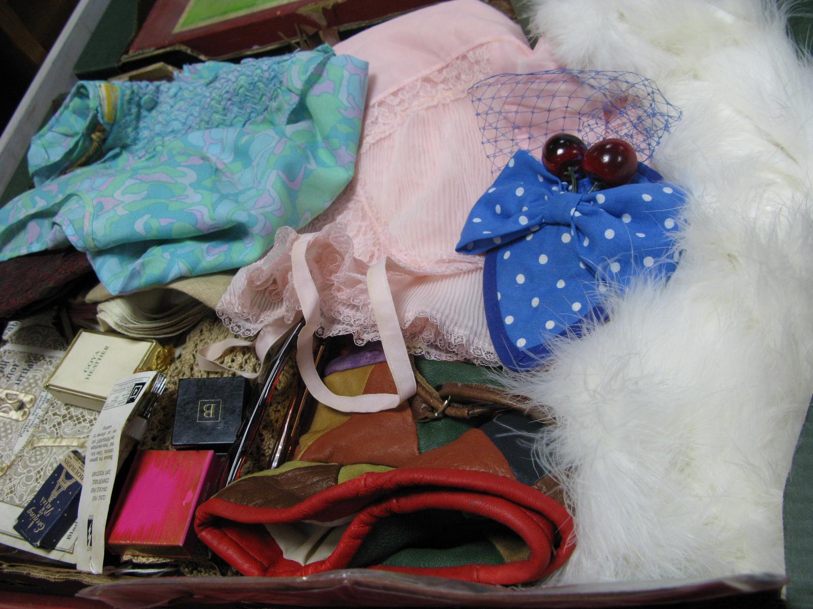 Lot 1055 - c.1950''s Vintage Blouses and Slips, marabou bolero, stockings, linen, 'Made by Me' fascinator,