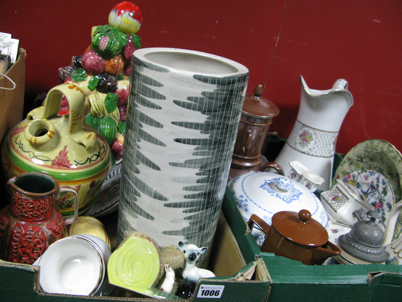 Lot 1006 - Italian Fruit Table Centre, stick stand, wash set, etc:- Two Boxes