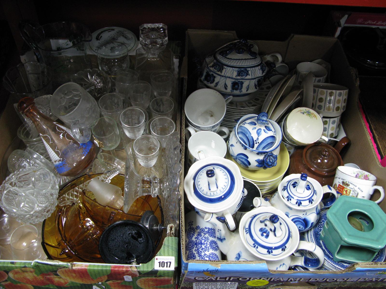 Lot 1017 - Quantity of Glassware, Midwinter tableware, ceramics:- Two Boxes