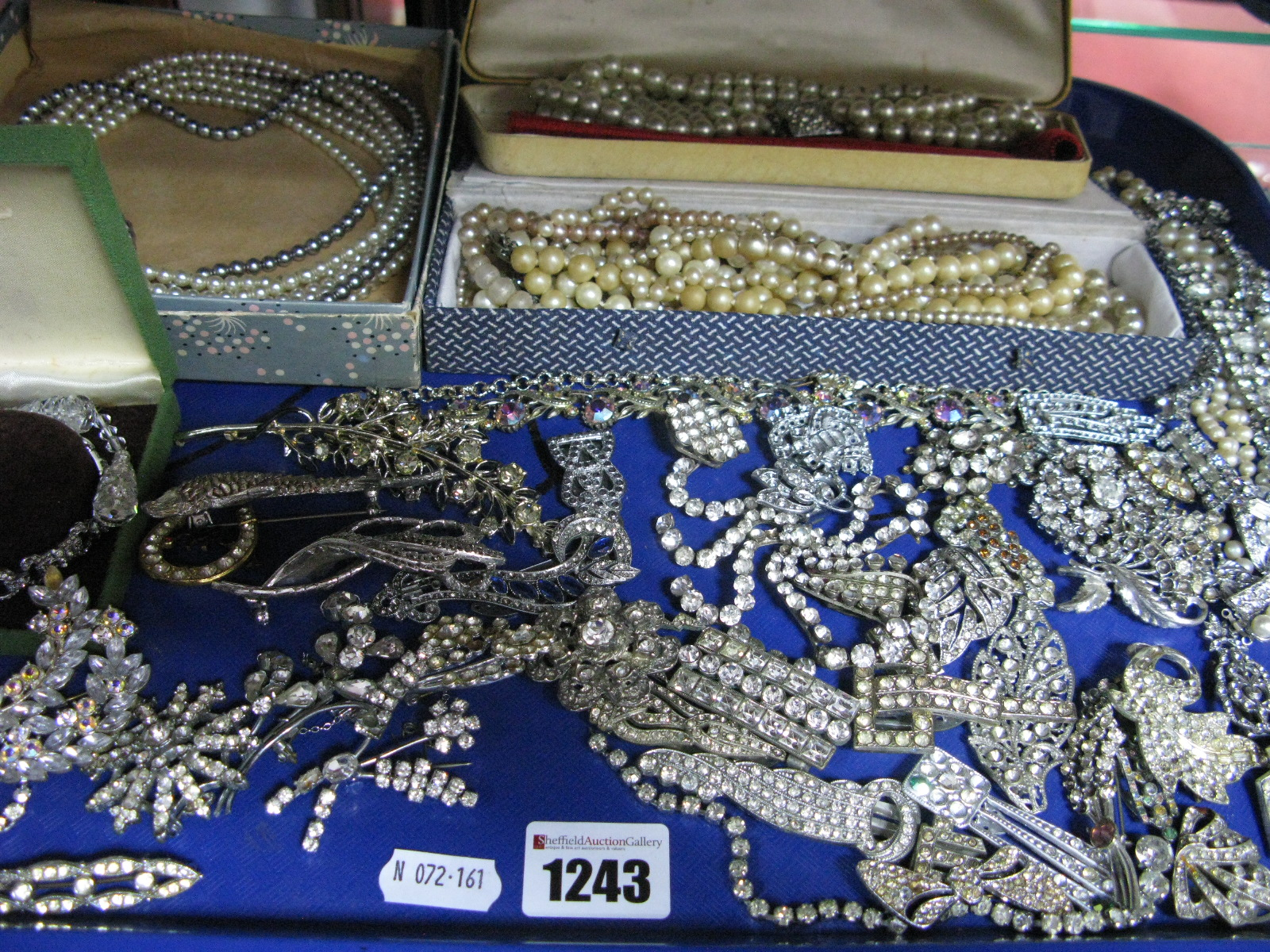 Lot 1243 - A Selection of Assorted Costume Jewellery, including imitation pearl necklaces, assorted floral