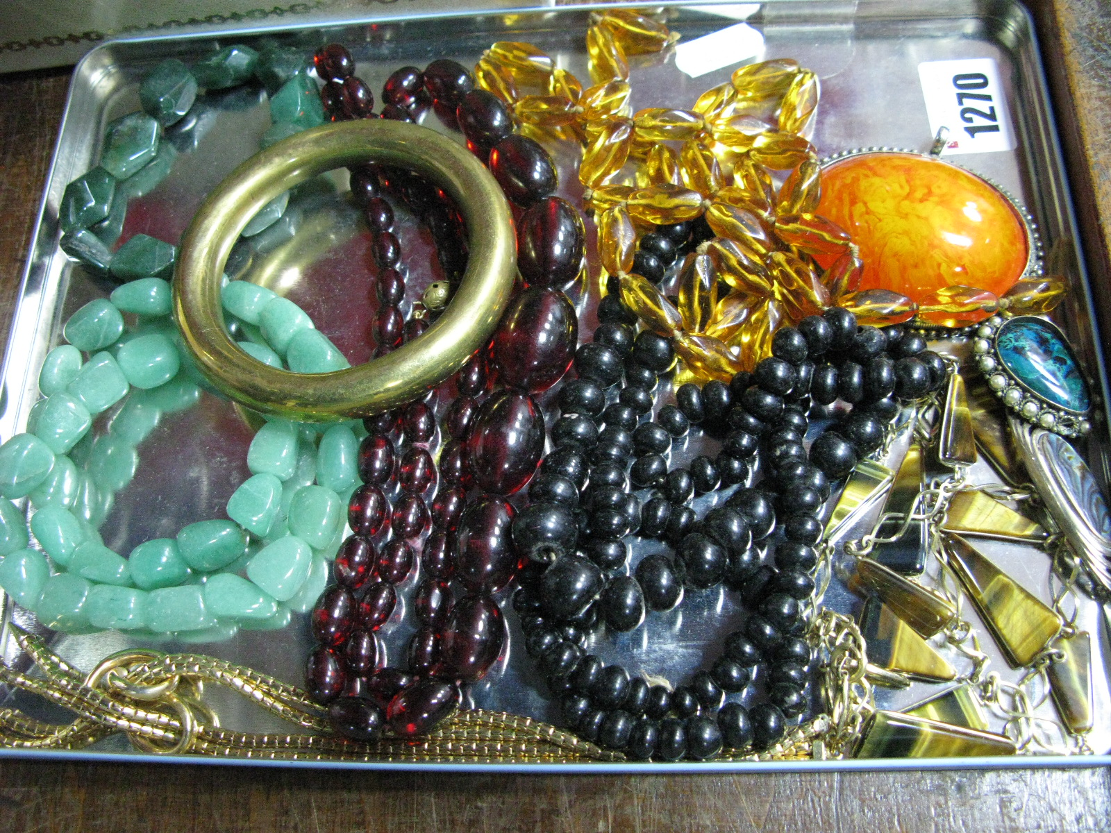 Lot 1270 - Grosse 1958 German Vintage Costume Necklace, bead necklaces, bangle, etc.