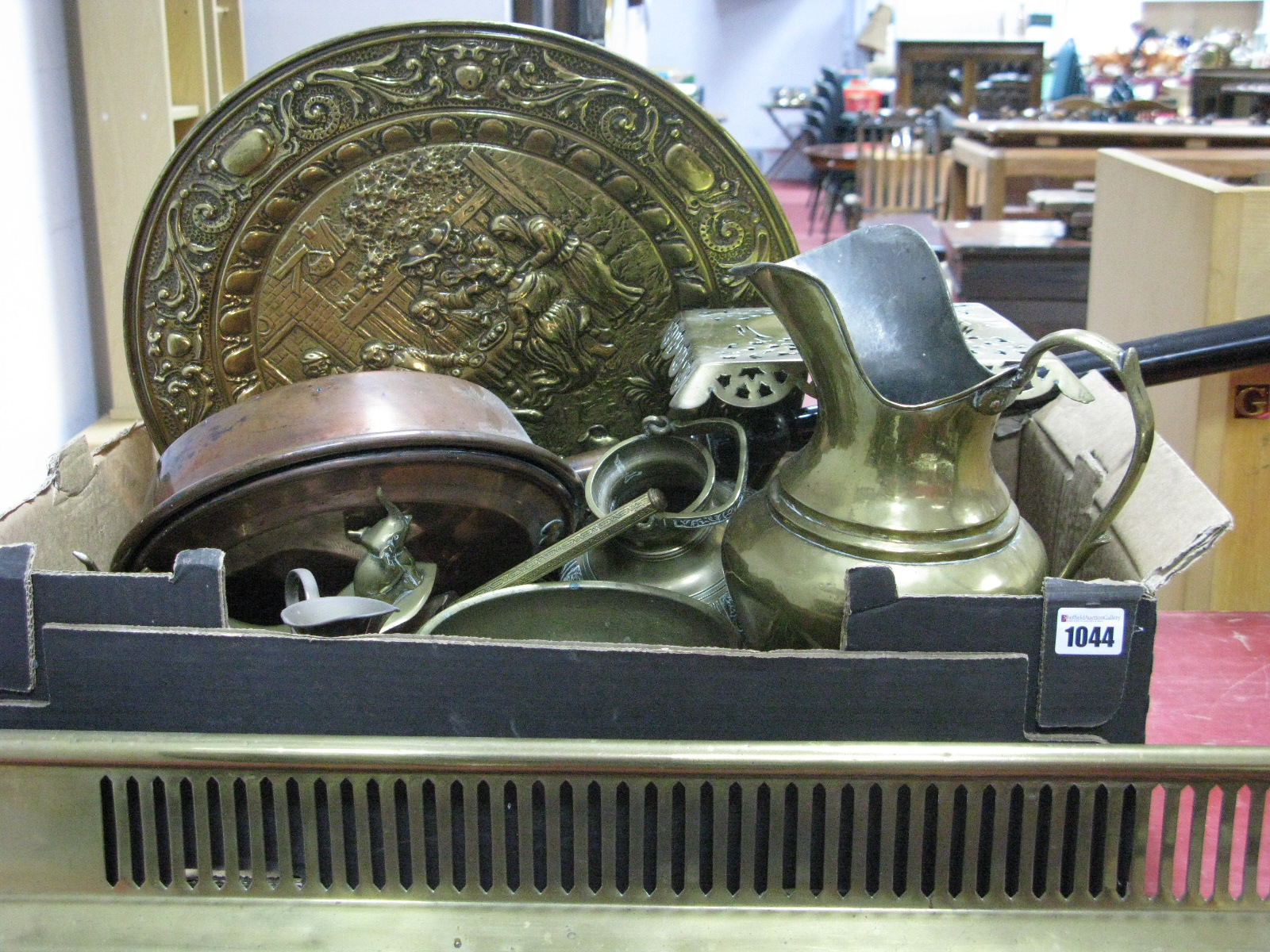 Lot 1044 - A XIX Century Copper Warming Pan, brass trivet, other brass ware:- One Box plus fender.