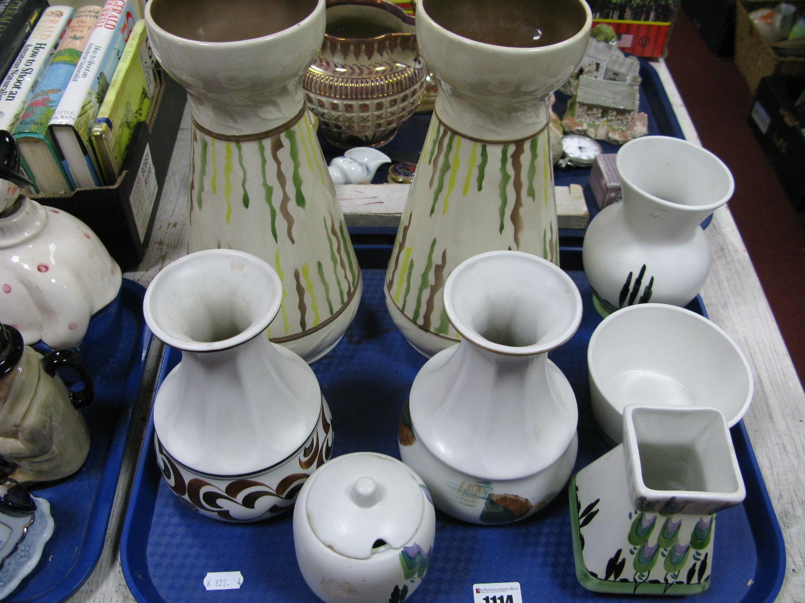 Lot 1114 - Radford Pottery Vases and Jam Pot:- One Tray