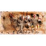 Hans Staudacher St. Urban 1923 * Gasse Öl auf Leinwand / oil on canvas 50 x 100 cm unten mittig zwei