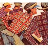 Sybil Andrews Bury St. Edmunds 1898 - 1992 Campbell River Coffee Bar Linolschnitt in vier Farben auf