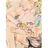 Oskar Kokoschka (hs art) Pöchlarn 1886 - 1990 Montreux Doris mit Katze Aquarell auf Papier /