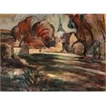 Henri Epstein Lódz 1891 - 1944 Auschwitz Dorflandschaft Öl auf Leinwand / oil on canvas 46 x 61 cm