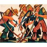 Sybil Andrews Bury St. Edmunds 1898 - 1992 Campbell River The Mowers Linolschnitt in vier Farben auf