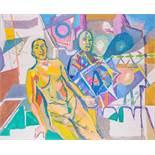 Herbert Boeckl (hs art) Klagenfurt 1894 - 1966 Wien Der Maler und sein Modell III Öl auf