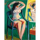 Alfred Kornberger (hs art) Wien 1933 - 2002 Wien Sitzender Akt vor Spiegel Öl auf Leinwand / oil