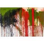 Hermann Nitsch (hs art) Wien 1938 * Ohne Titel (Schüttbild mit Malhemd) Acryl auf Jute (Malhemd: