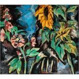 Werner Scholz Berlin 1898 - 1982 Schwaz Blumen Öl auf Holzplatte / oil on wood panel 70 x 77,5 cm