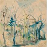 Hans Staudacher St. Urban 1923 * Motiv aus Warmbad bei Villach Aquarell und Tusche auf Papier /