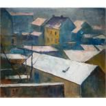 Leo Fellinger Graz 1884 - 1976 Graz Dächer von Graz Öl auf Jute / oil on jute 60 x 70 cm um 1920