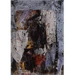 Valentin Oman St. Stefan bei Villach 1935 * Porträt Öl und Collage auf Leinwand / oil and collage on