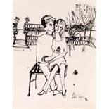 Lotte Profohs Wien 1934 - 2012 Wien Liebespaar Tusche auf Papier auf Karton / india ink on paper