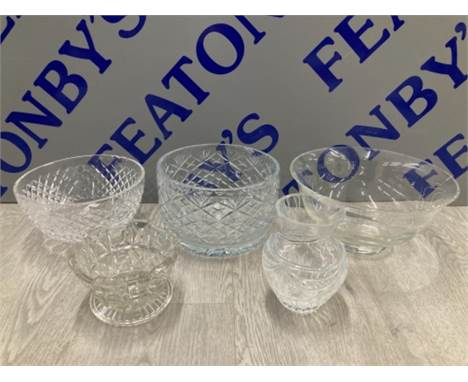 3 NICE GLASS CENTRE PIECES INCLUDES WATERFORD CRYSTAL TOGETHER WITH 2 OTHER PIECES