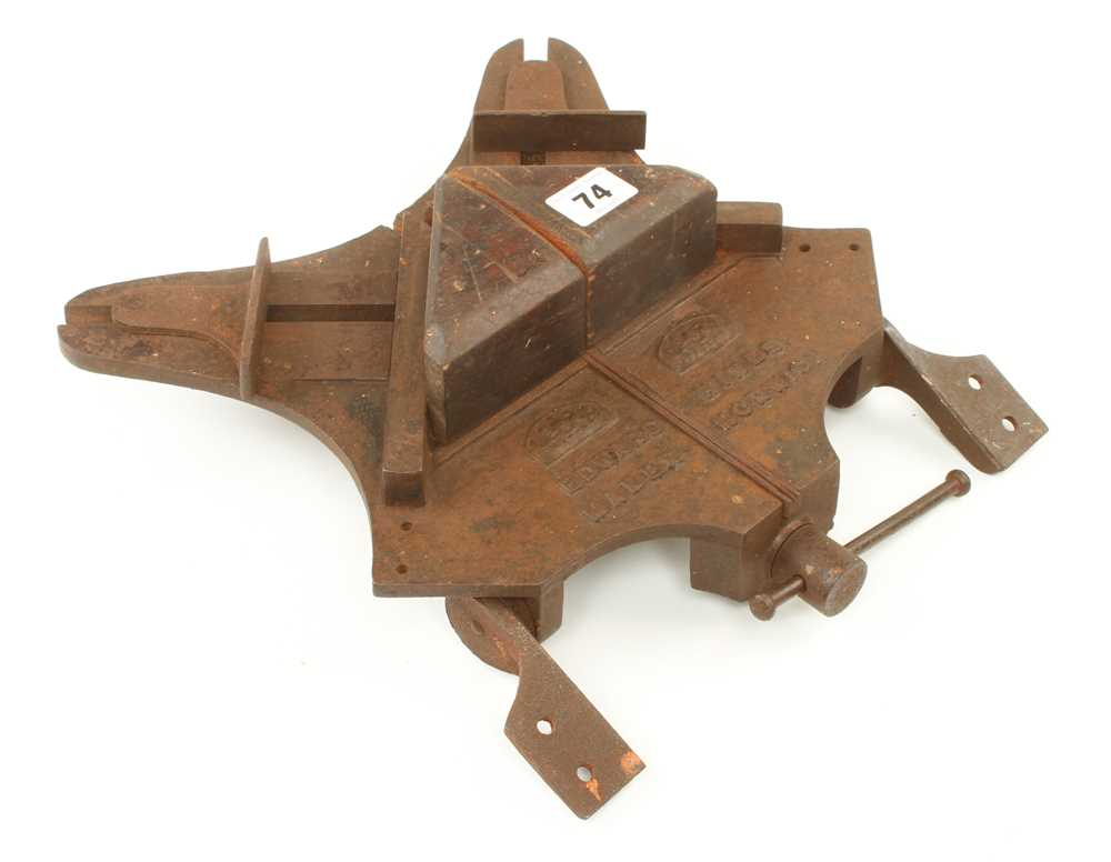 A rare adjustable mitre cutter by EDWARD HINES Norwich with bench fixings G