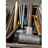 LOT OF ASSORTED MALLETS, HAMMERS, AND ANVIL