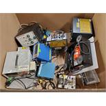 BOX OF ASSORTED METERS & ELECTRICAL CONTROL TESTERS