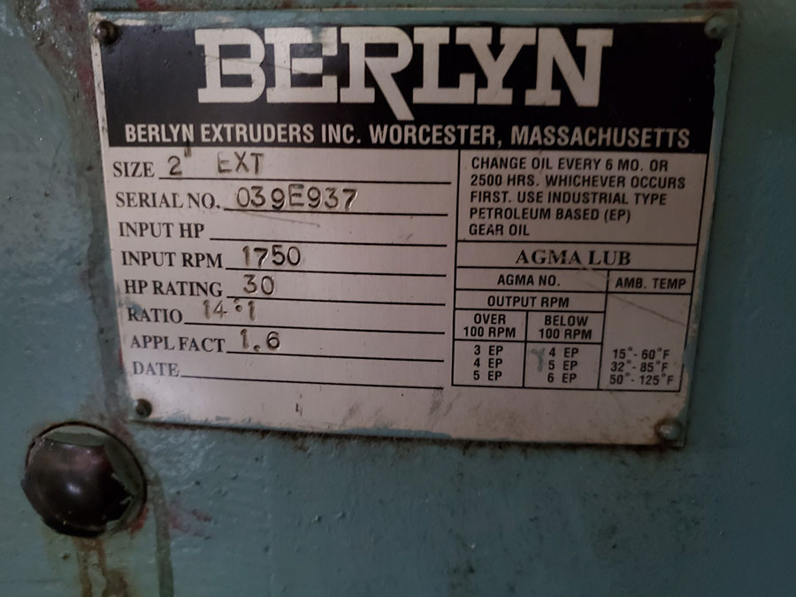 BERLYN EXTRUDER; S/N 039E937, 1750 RPM INPUT, 30-HP RATING, SIZE 2 EXT. - Image 9 of 14
