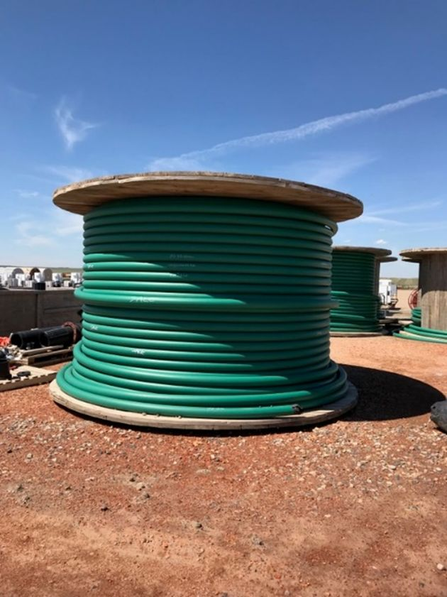 """Lot 30 - 4"""" Fiberspar Pipe. (5) Spools of 4"""" Fiberspar are each 14' Wide by 8'6"""" tall, 1500 psi, approx."""