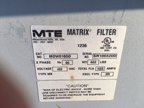 Lot 290 - MTE Harmonic Filters. Lot: Qty (4) Harmonic Filters. EOG Stock #900004. Asset Located in Stanley, ND