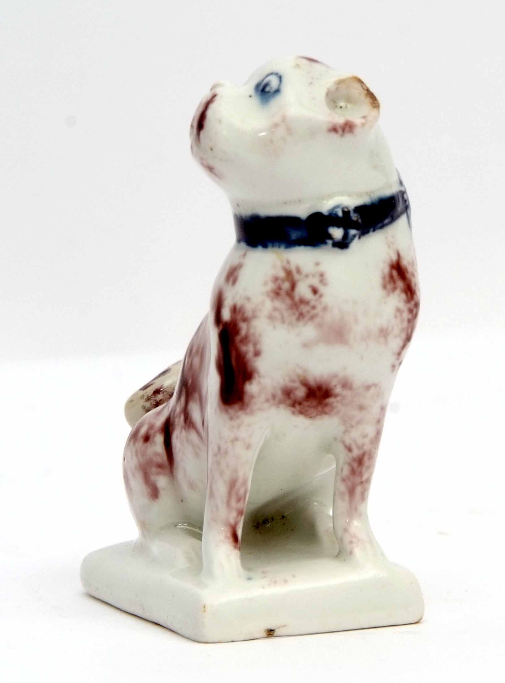 Very rare Lowestoft model of a pug dog, the animal sits on its haunches on a rectangular base, the - Image 3 of 4