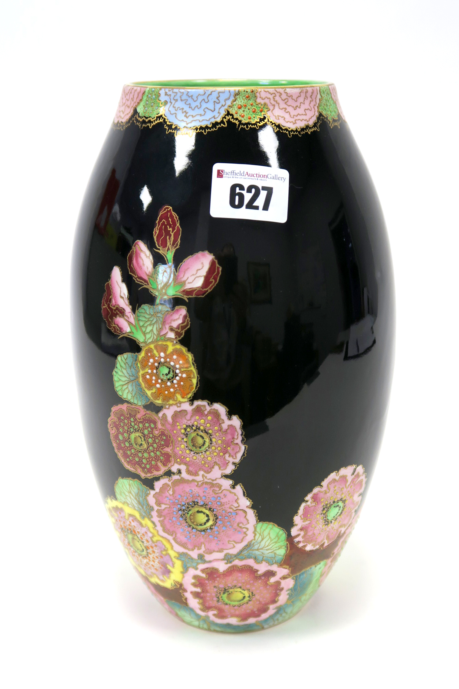 Lot 627 - A Carlton Ware Pottery Vase, of ovoid form, decorated in the 'Hollyhocks' pattern with colourful