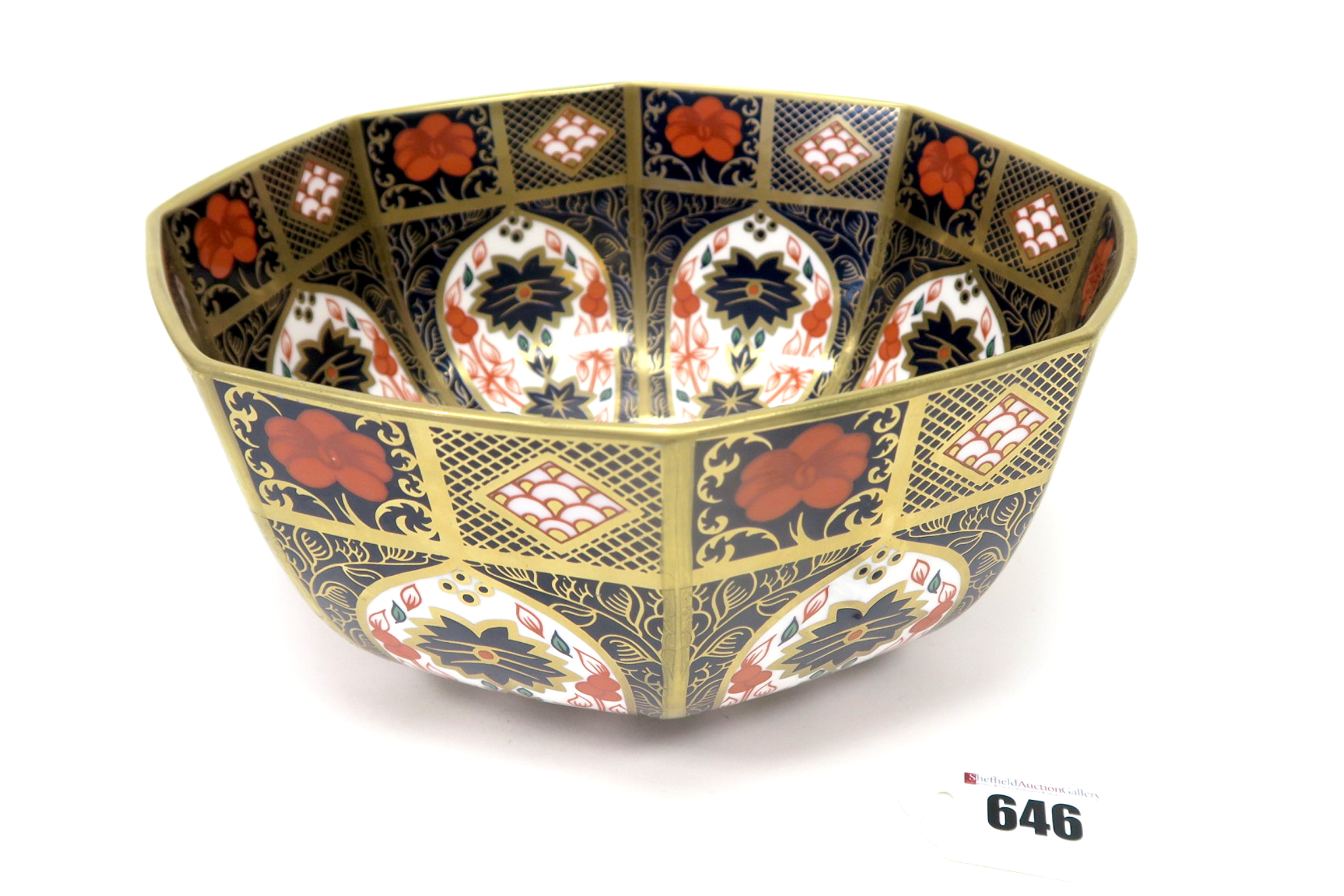 Lot 646 - A Royal Crown Derby Style Porcelain Bowl, of octagonal form, decorated in the Imari pattern 1128,